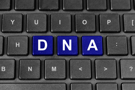 deoxyribonucleic: DNA or Deoxyribonucleic Acid word on keyboard Stock Photo
