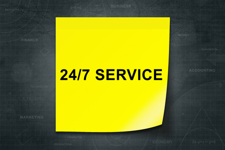 24x7: 24 hours a day, 7 days a week service on yellow note with black background
