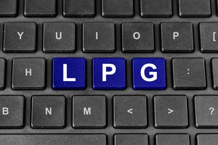 lpg: LPG or Liquefied petroleum gas blue word on keyboard