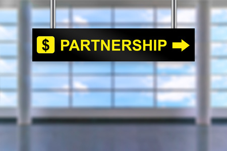 airport sign: partnership word on airport sign board with blurred background