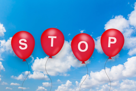 control fraud: stop text on balloon with blue sky background Stock Photo