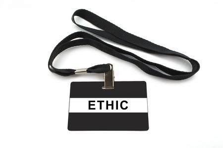 ethic: ethic badge with strip isolated on white background Stock Photo