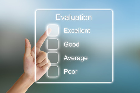 survey: hand clicking evaluation on virtual screen interface Stock Photo