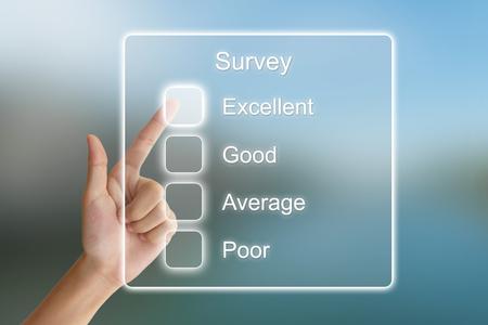 hand clicking survey on virtual screen interface