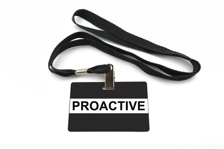 proactive: proactive badge with strip isolated on white background