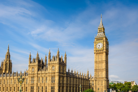 tower house: Big Ben Clock Tower and House of Parliament, London, England, UK Stock Photo