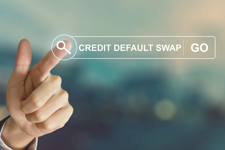 lend a hand: business hand clicking credit default swap button on search toolbar with vintage style effect