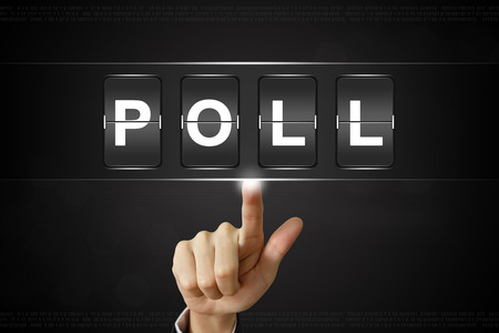 poll: business hand pushing poll on Flipboard Display