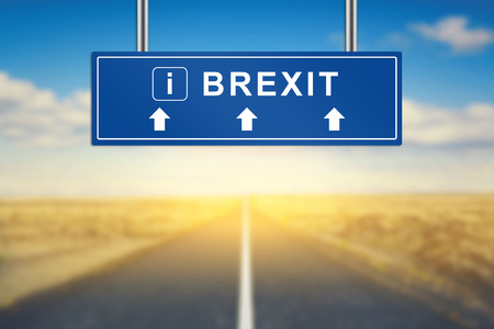 yes or no to euro: Brexit or British exit words on blue road sign with blurred background