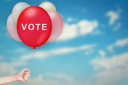 responsibility survey: Hand Holding vote Balloon with sky blurred background