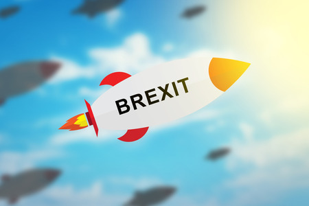 yes or no to euro: group of BREXIT or british exit flat design rocket with blurred background and soft light effect Stock Photo