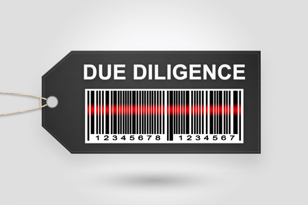 acquisitions: Due diligence price tag with barcode and grey radial gradient background