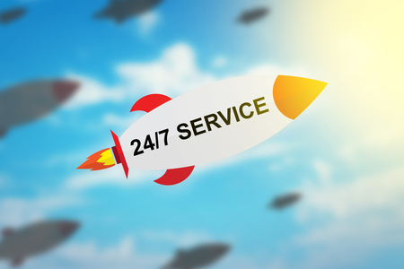 24x7: group of 24 hours a day, 7 days a week service flat design rocket with blurred background and soft light effect