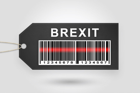 yes or no to euro: brexit or british exit price tag with barcode and grey radial gradient background