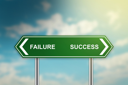 failed plan: failure and success on green road sign with blurred blue sky, dark and bright side concept