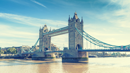 view of Tower Bridge over the River Thames, London, UK, England, selective focus, vintage effect