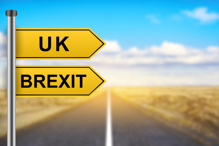 yes or no to euro: brexit or british exit words on yellow road sign with blurred background