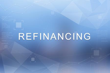 Refinanzierungswort auf blauem unscharfem und Polygonhintergrund Standard-Bild