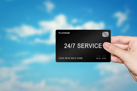 24x7: hand picking 24 hours a day, 7 days a week service platinum card on blur background