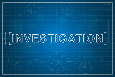 crime solving: Investigation on paper blueprint background, business concept Stock Photo