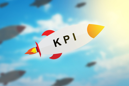 group of KPI or key performance indicator flat design rocket with blurred background and soft light effect