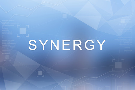 synergy: Synergy word on blue blurred and polygon background