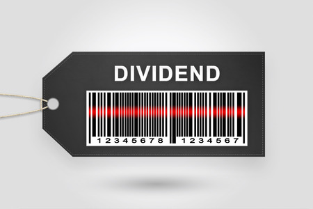 dividend: dividend price tag with barcode and grey radial gradient background