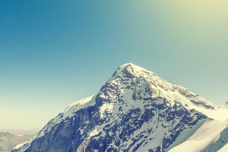 jungfraujoch: Swiss Alps mountain landscape, Jungfraujoch, Switzerland, vintage effect