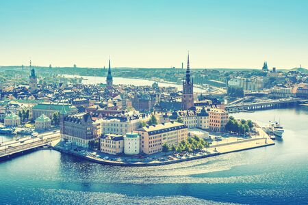 stan: Scenic view of the Old Town or Gamla Stan in Stockholm, Sweden, vintage style effect Stock Photo