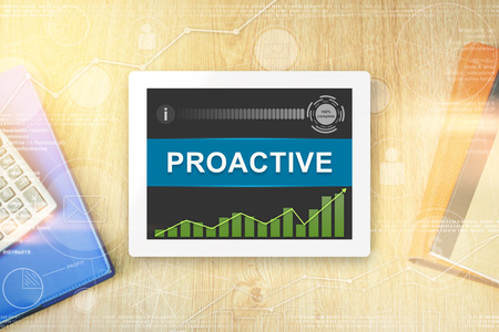 proactive: proactive word on tablet with soft light vintage effect