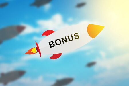 group of bonus flat design rocket with blurred background and soft light effect Stock Photo