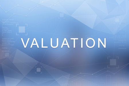 Valuation word on blue blurred and polygon background Stock Photo