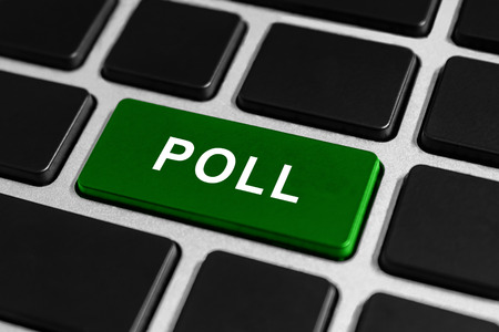 responsibility survey: poll green button on keyboard, business concept