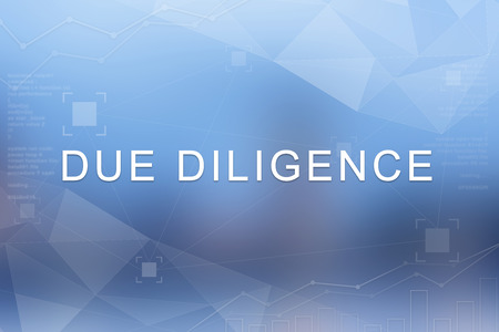 Due diligence word on blue blurred and polygon background Stock Photo