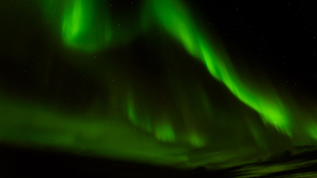 A beautiful green Aurora borealis or northern lights, Norway Stock Photo