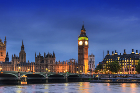 Big Ben Clock Tower and House of Parliament, London, England, UK, in the dusk evening Stock Photo