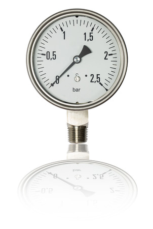 calibrate: Pressure gauge bourdon tube type isolate on white,clipping path Stock Photo