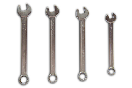 open end wrench: Combination wrench cromed and vanadium coated isolate on white