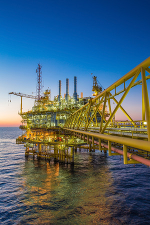 injected: Oil and gas production platform to separates oil gas and condensate and sent condensate to storage boat,tanker,and gas compressed and sent to on refinery and the last one water injected to water reservior. Stock Photo
