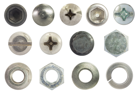spaner: screw, bolt, stud, nut, washer and spring washer isolate on white