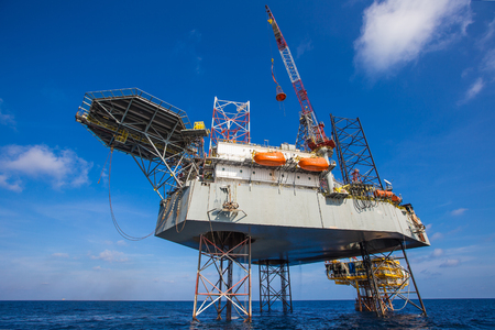 drill floor: Oil and gas drilling rig just completion on oil and gas wellhead platform