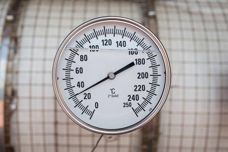 booster: Temperature gauge for monitor discharge temperature of gas  booster compressor Stock Photo