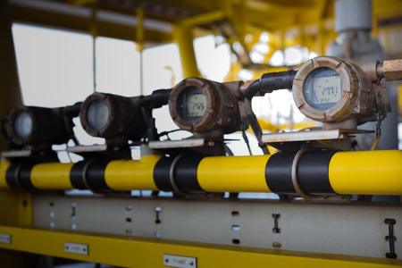 well platform: temparature transmiter in oil and gas platform for monitor and control well temparature Stock Photo