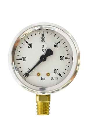 type bar: Pressure gauge range 0-60 Bar size 2.5 bourdon tube type isolate on white with clipping path