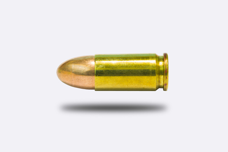 full jacket bullet: 9mm. practice bullet isolate on white background Stock Photo