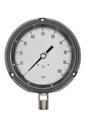 type bar: Pressure gauge in BAR unit,bourdon tube type isolate on white with clipping path