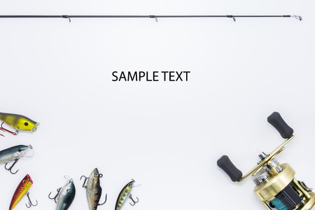 fishing gear: Fishing gear on  white background and space for text Stock Photo