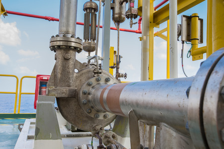 chiller: Centrifugal pump in oil and gas processing platform used for transfer liquid condensate Stock Photo