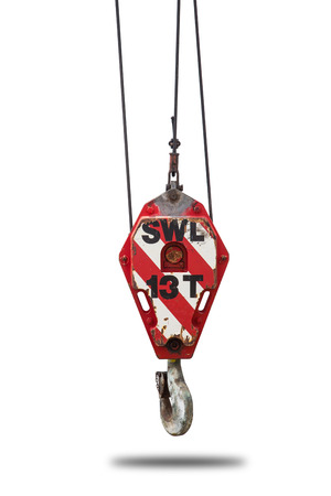 hoist: Crane hoist and hook with wire rope sling isolate on white background