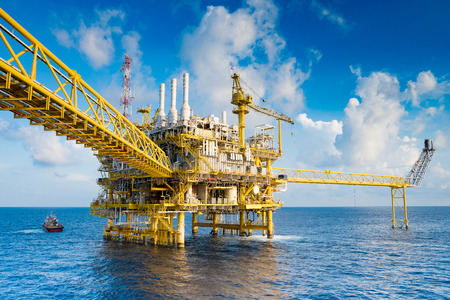 Oil and gas production platform, Oil and Gas  production and exploration business in the gulf of Thailand. Stockfoto